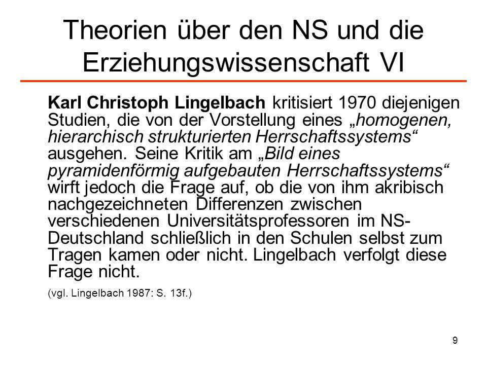 9 Theorien über den NS und die Erziehungswissenschaft VI Karl Christoph Lingelbach kritisiert 1970 diejenigen Studien, die von der Vorstellung eines h
