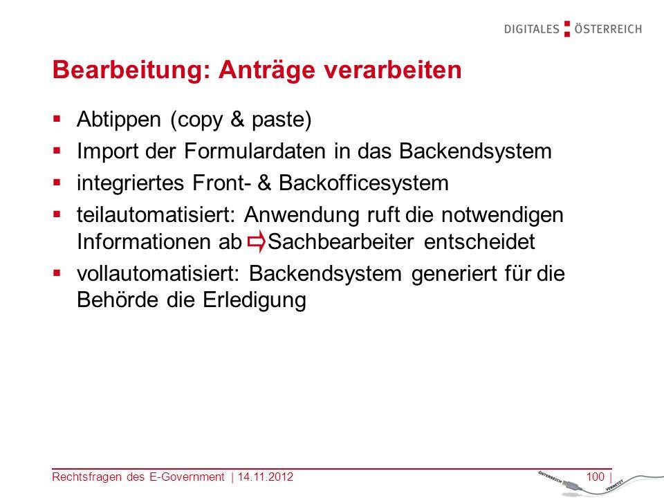 Rechtsfragen des E-Government | 14.11.201299 | 3.