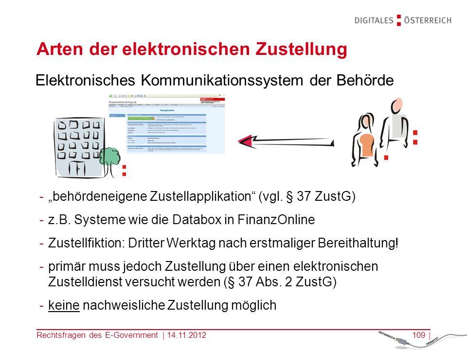 Rechtsfragen des E-Government | 14.11.2012108 | Arten der elektronischen Zustellung Zustellung an eine elektronische Zustelladresse -normales E-Mail oder Fax -muss von der Empfängerin bzw.