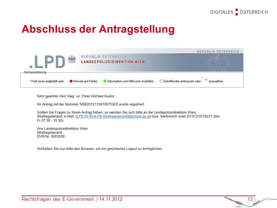 Rechtsfragen des E-Government | 14.11.201212 | Bezahlung der Gebühren