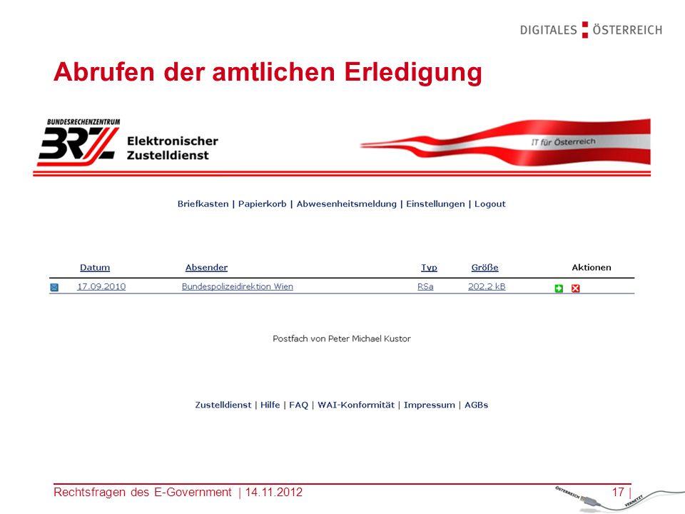 Rechtsfragen des E-Government | 14.11.201216 | Identifikation und Signatur: zB mit Karte