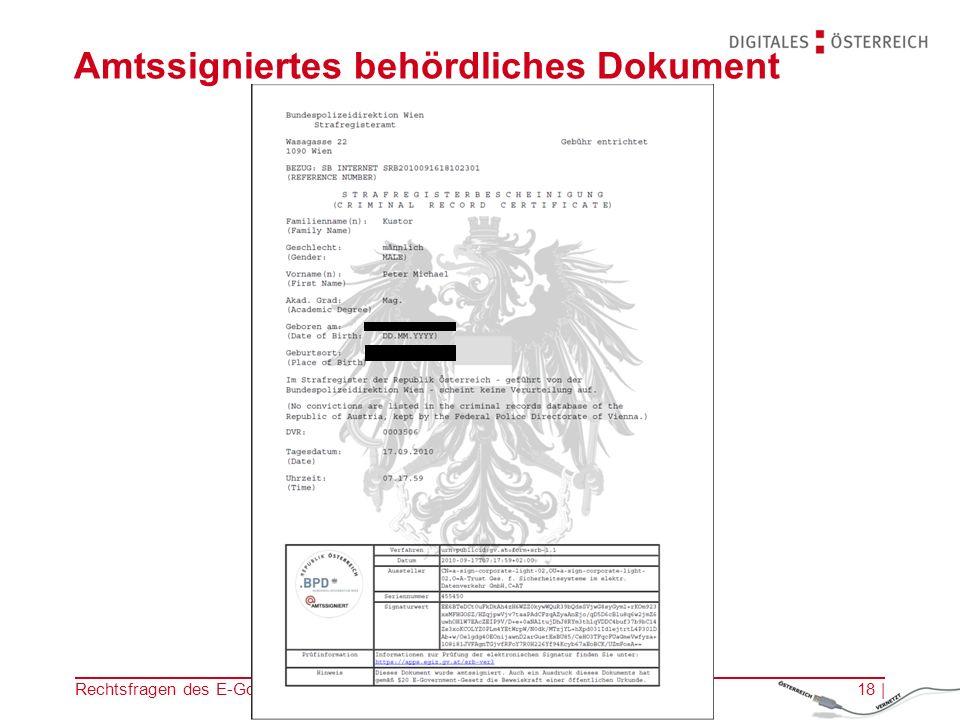Rechtsfragen des E-Government | 14.11.201217 | Abrufen der amtlichen Erledigung