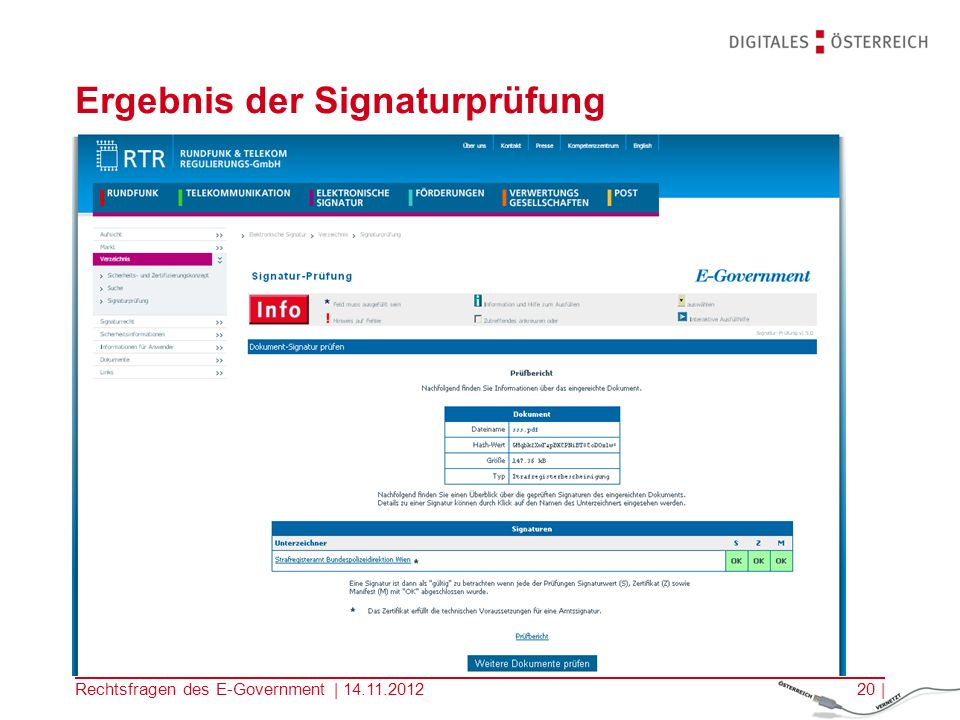 Rechtsfragen des E-Government | 14.11.201219 | Signaturprüfung