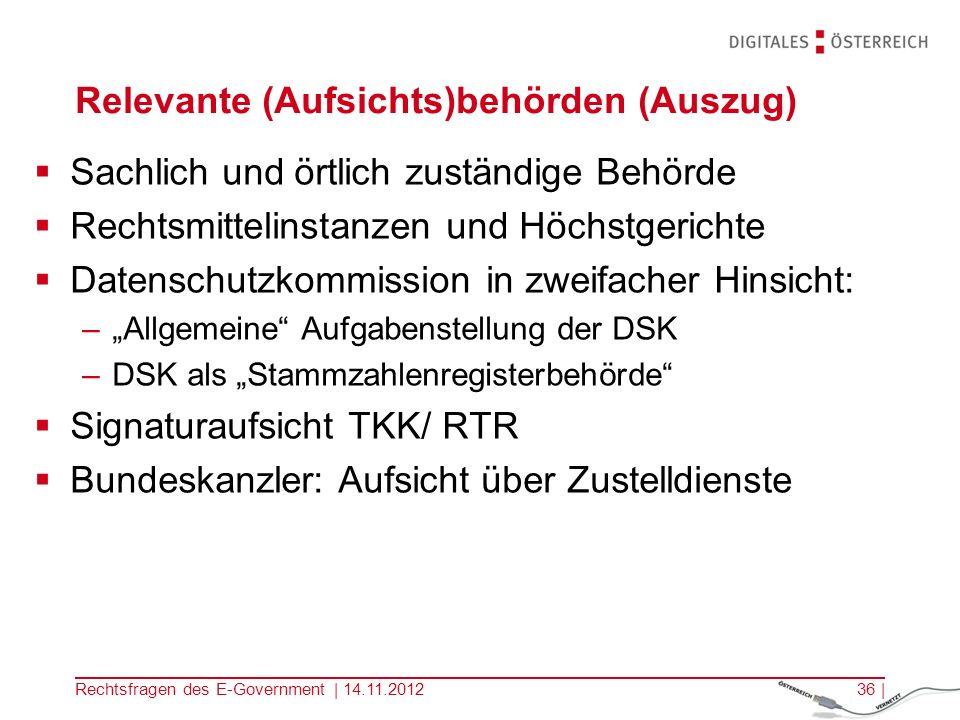 Rechtsfragen des E-Government | 14.11.201235 | Signaturprüfung E-GovG: Anforderungen an die Amtssignatur Signaturgesetz: Signaturprüfung, Aufsichtsbehörde