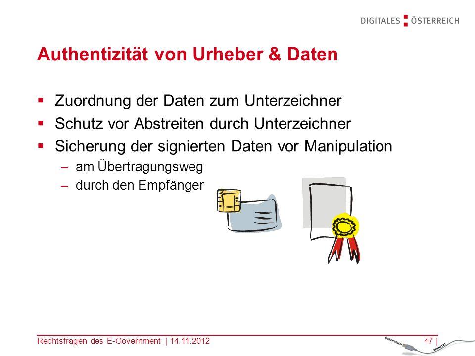 Rechtsfragen des E-Government | 14.11.201246 | E-Kommunikation Vergleichbar mit einer Postkarte, kann am Postweg gelesen und verändert werden Postkarte: Postmitarbeiter, … E-Mail: Systemadministratoren, Hacker, … Ungewissheit des Gegenübers .