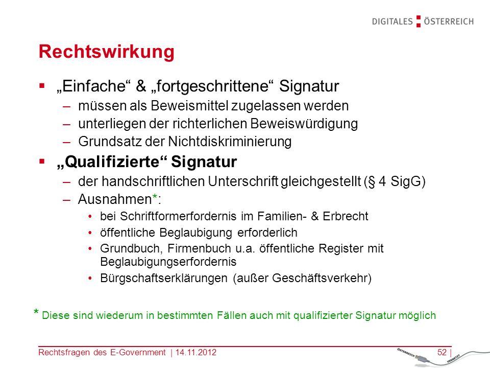 Rechtsfragen des E-Government | 14.11.201251 | Elektronische Signatur Einfache elektronische Signatur –dient der Feststellung der Identität des Signators –auch für juristische Personen möglich fortgeschrittene elektronische Signatur –auch für juristische Personen möglich –ist ausschließlich dem Signator zugeordnet –ermöglicht die Identifikation des Signators –wird mit Mitteln erstellt, die der Signator unter seiner alleinigen Kontrolle halten kann –Daten werden so verknüpft, dass nachträgliche Veränderungen festgestellt werden können qualifizierte elektronische Signatur –Ist eine fortgeschrittene Signatur –beruht auf einem qualifizierten Zertifikat (nur für natürliche Personen!) –Wird mit einer sicheren Signaturerstellungseinheit (SSCD) erzeugt.
