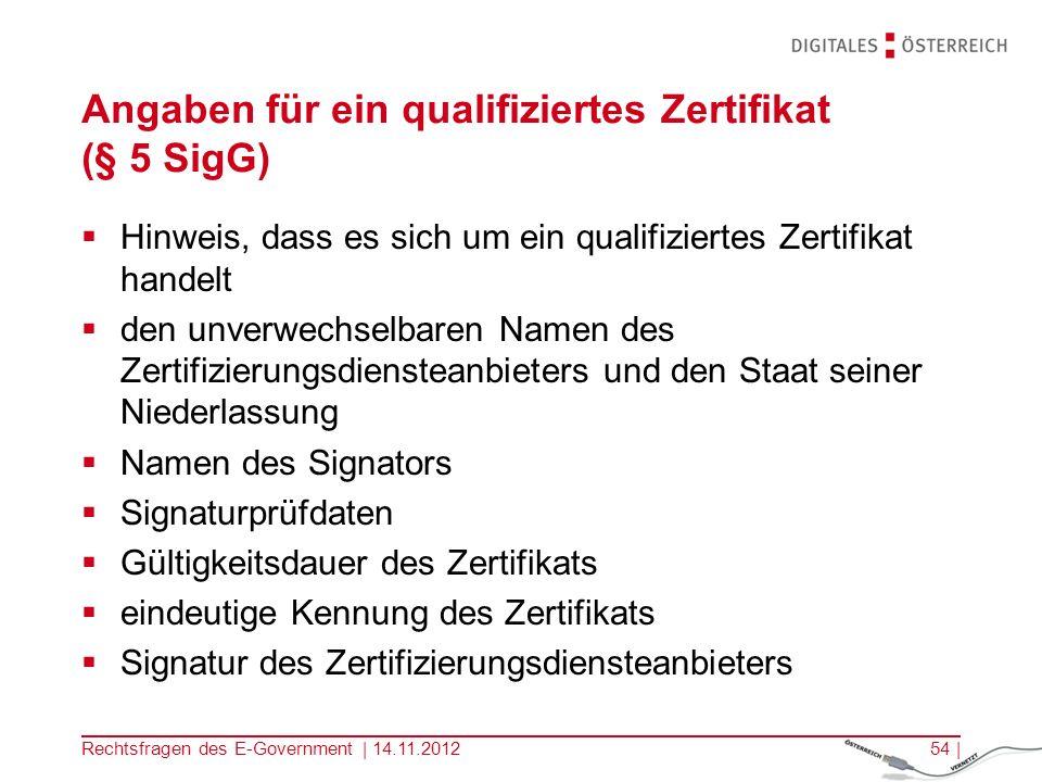 Rechtsfragen des E-Government | 14.11.201253 | Qualifiziertes Zertifikat Qualifiziertes Zertifikat Angaben nach § 5 SigG ZDA nach § 7 SigG Basis für qualifizierte elektronische Signatur