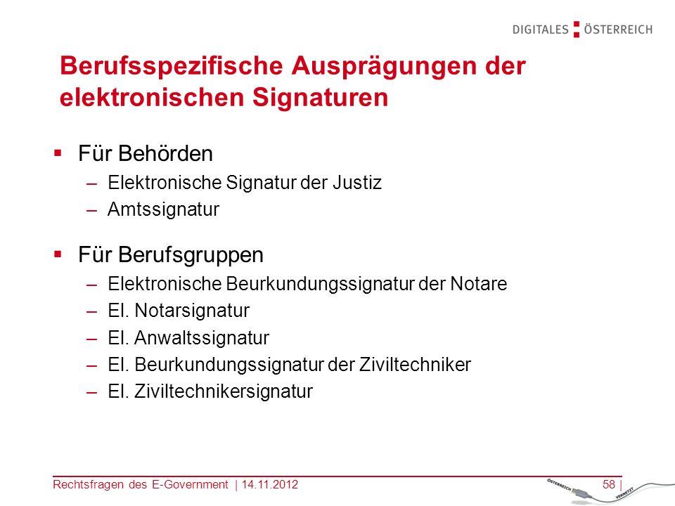 Rechtsfragen des E-Government | 14.11.201257 | Sichere Signaturerstellungseinheit (SSCD) Verarbeitung der Signaturerstellungsdaten –Chipkarte/ HSM Nicht: Systemumgebung/ Kartenleser/ Signatursoftware/… Erfüllung der Sicherheitsanforderungen SSCD muss von einer Bestätigungsstelle (in Ö: A-Sit) bescheinigt sein (§ 18 Abs.