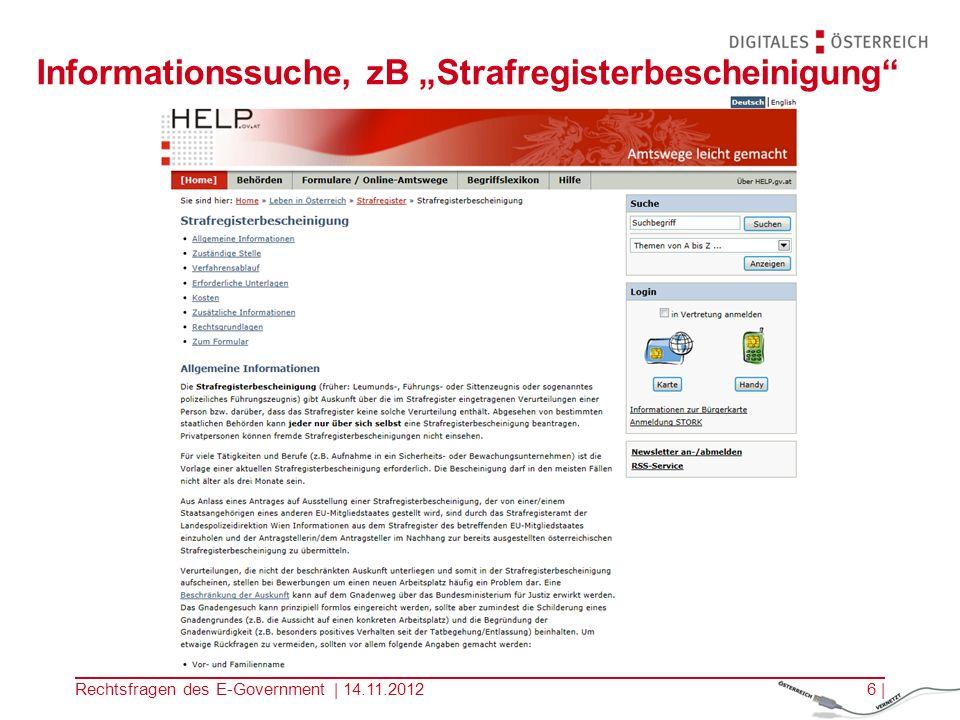 Rechtsfragen des E-Government | 14.11.20125 | Einstieg zB in das E-Government Portal HELP.gv.at