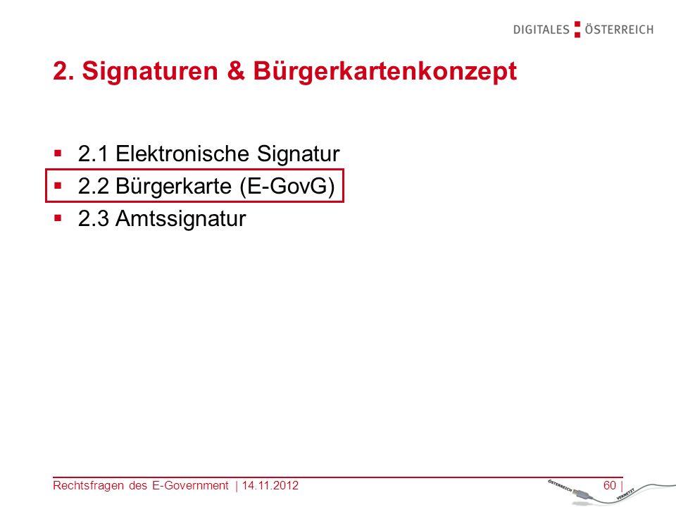 Rechtsfragen des E-Government | 14.11.201259 | Zusammenfassung E-Kommunikation birgt Risken in sich –Wer ist mein Gegenüber.