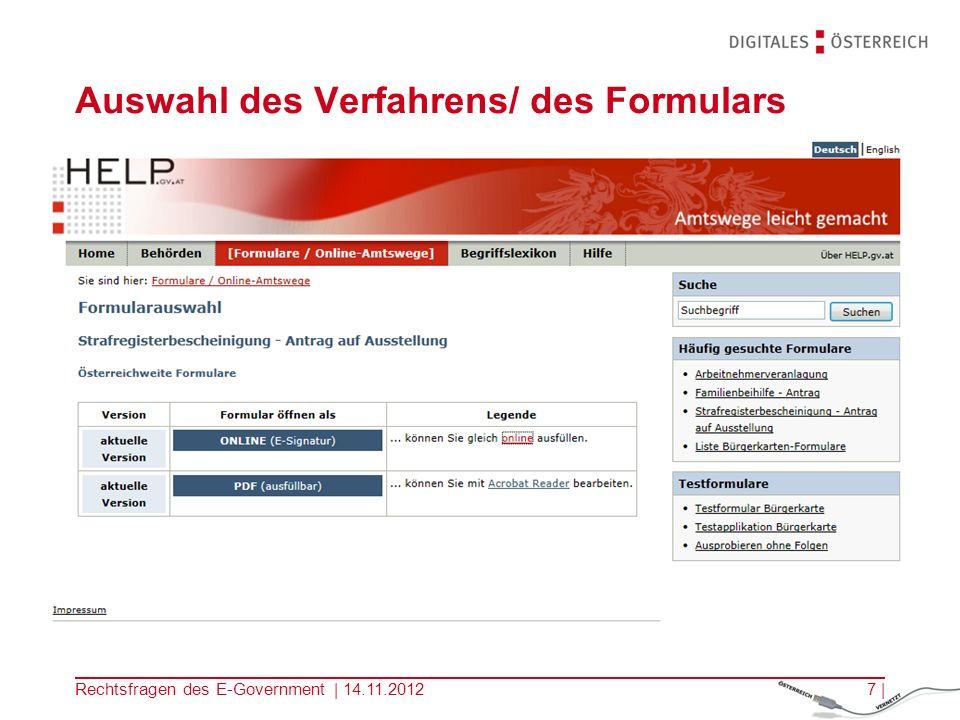 Rechtsfragen des E-Government | 14.11.20126 | Informationssuche, zB Strafregisterbescheinigung