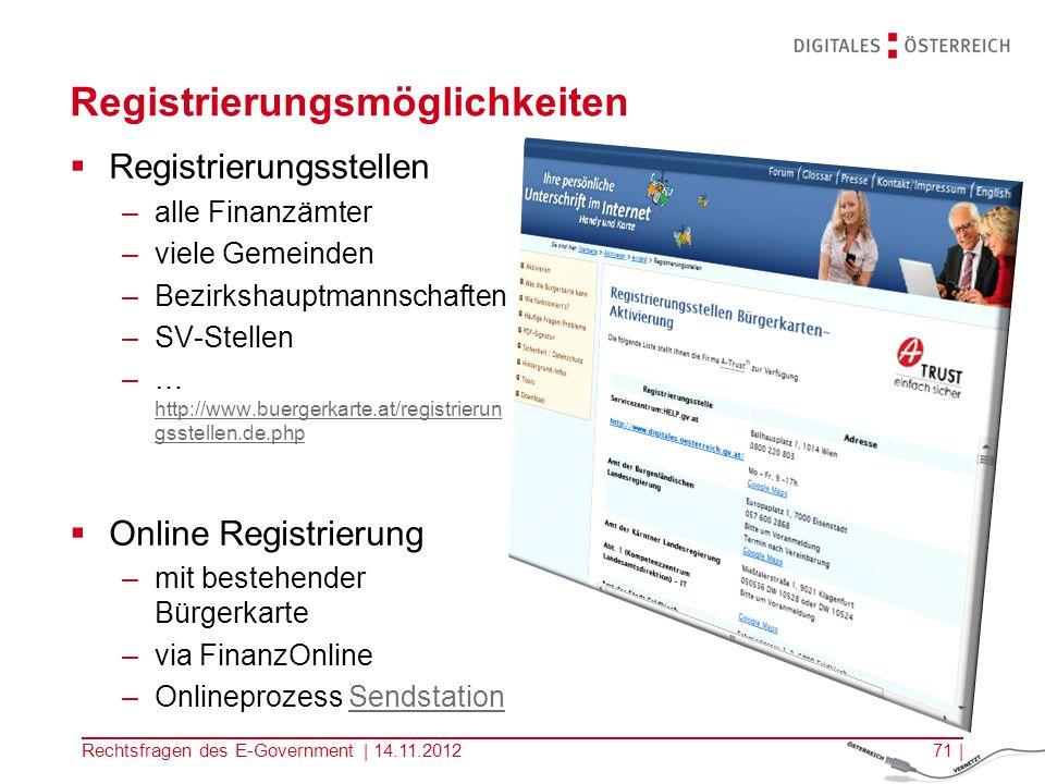 Single Sign On Angebote – zB HELP, USP … Rechtsfragen des E-Government | 14.11.201270 | Personalisierte Services –Suche nach Behörden etc.