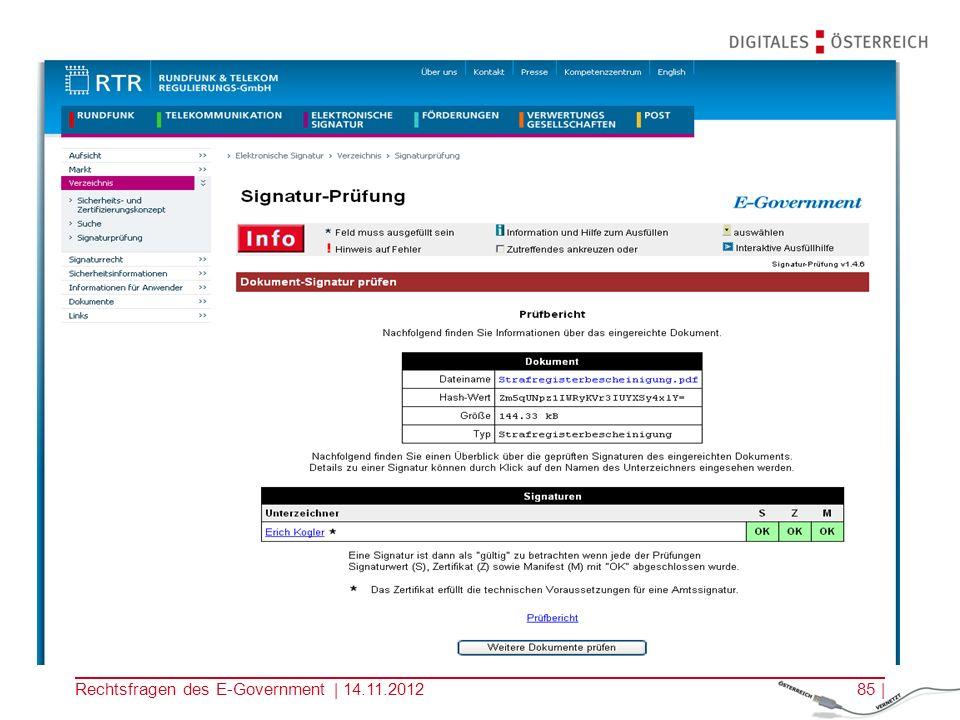 Rechtsfragen des E-Government | 14.11.201284 |