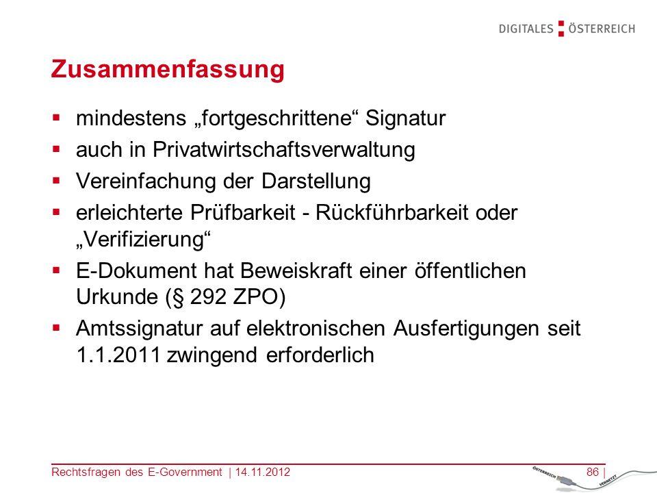 Rechtsfragen des E-Government | 14.11.201285 |