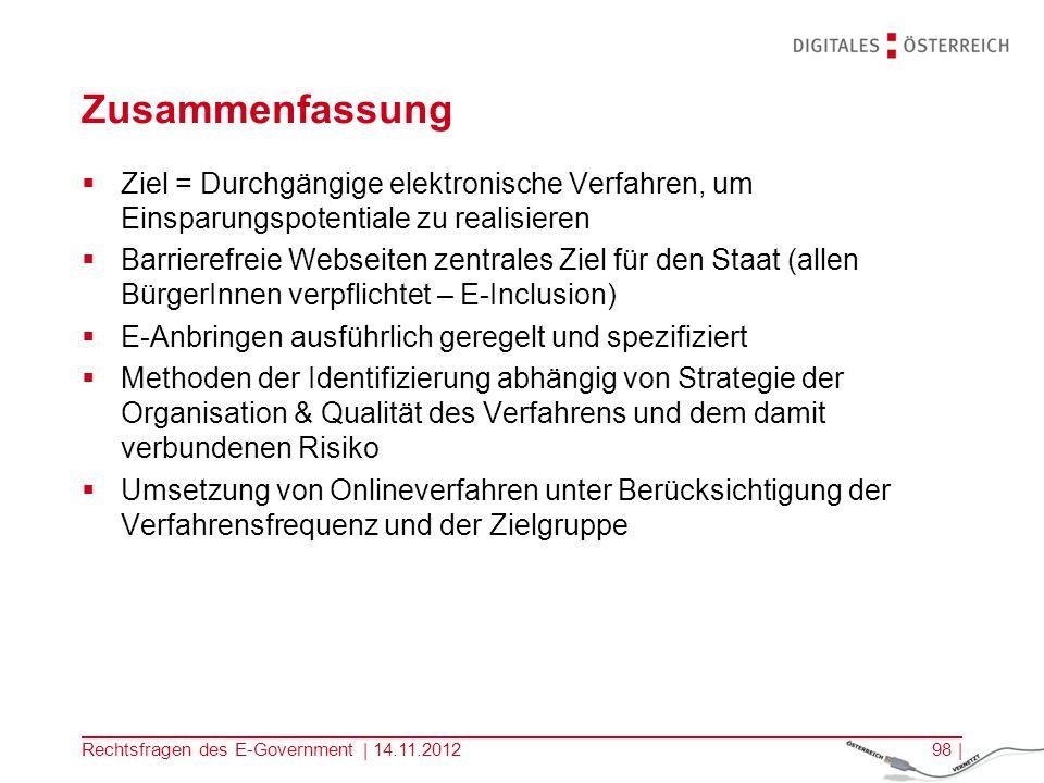 Rechtsfragen des E-Government | 14.11.201297 | Eingangsbestätigung