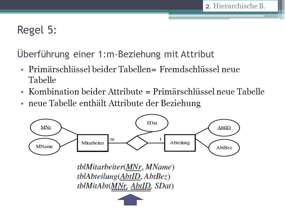 Überführung einer 1:mc-Beziehung tblMitarbeiter(MNr, MName) tblTelefonnummer(MTel, MNr) 2.