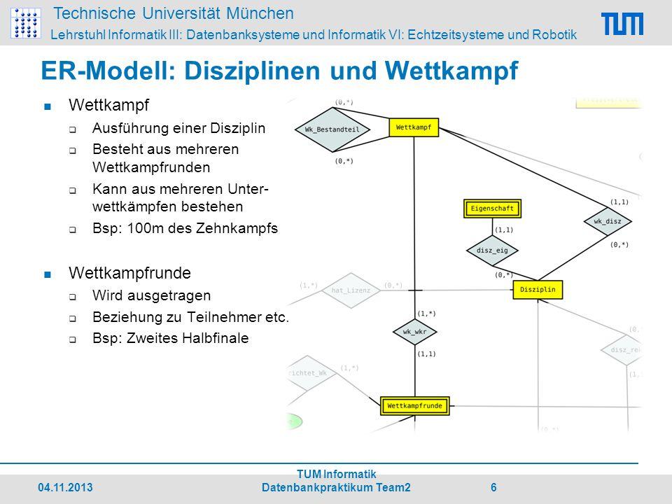Technische Universität München Lehrstuhl Informatik III: Datenbanksysteme und Informatik VI: Echtzeitsysteme und Robotik 04.11.2013 TUM Informatik Datenbankpraktikum Team2 17