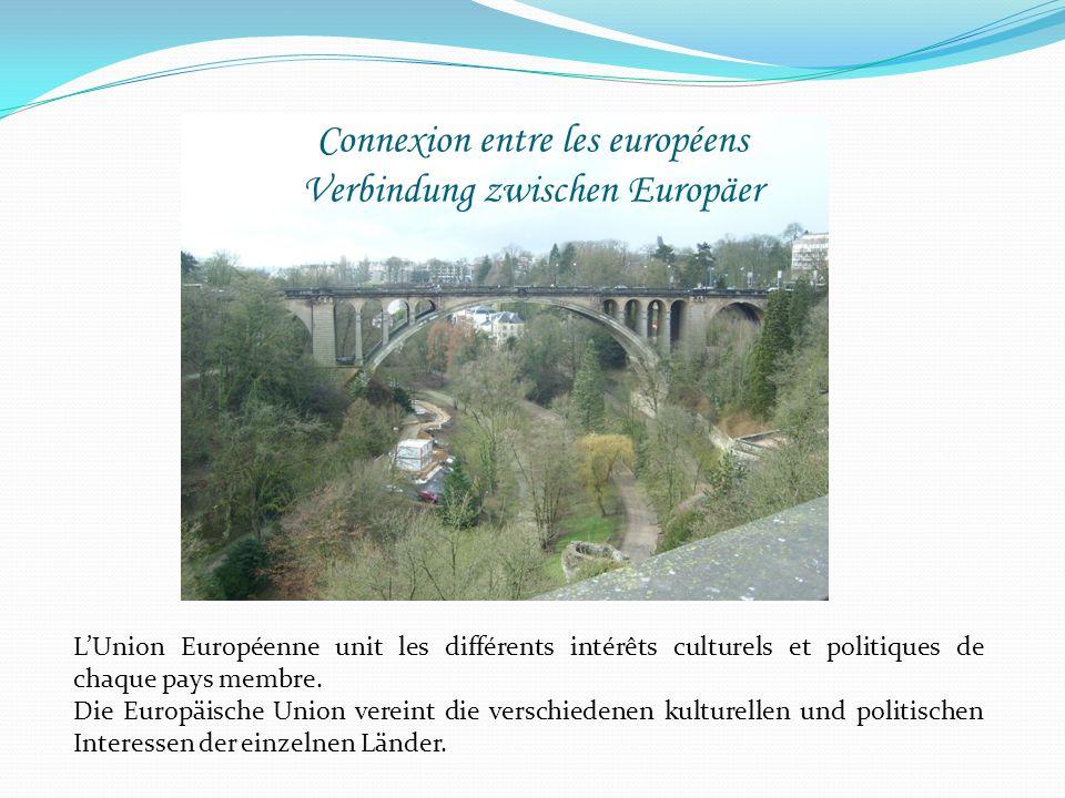 Connexion entre les européens Verbindung zwischen Europäer LUnion Européenne unit les différents intérêts culturels et politiques de chaque pays membr