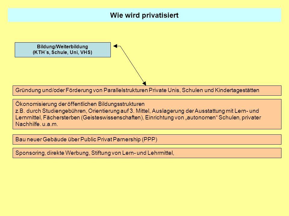 Wie wird privatisiert Gründung und/oder Förderung von Parallelstrukturen Private Unis, Schulen und Kindertagestätten Ökonomisierung der öffentlichen B