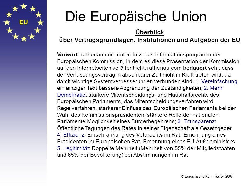 EU Die Europäische Union Überblick über Vertragsgrundlagen, Institutionen und Aufgaben der EU Vorwort: rathenau.com unterstützt das Informationsprogra