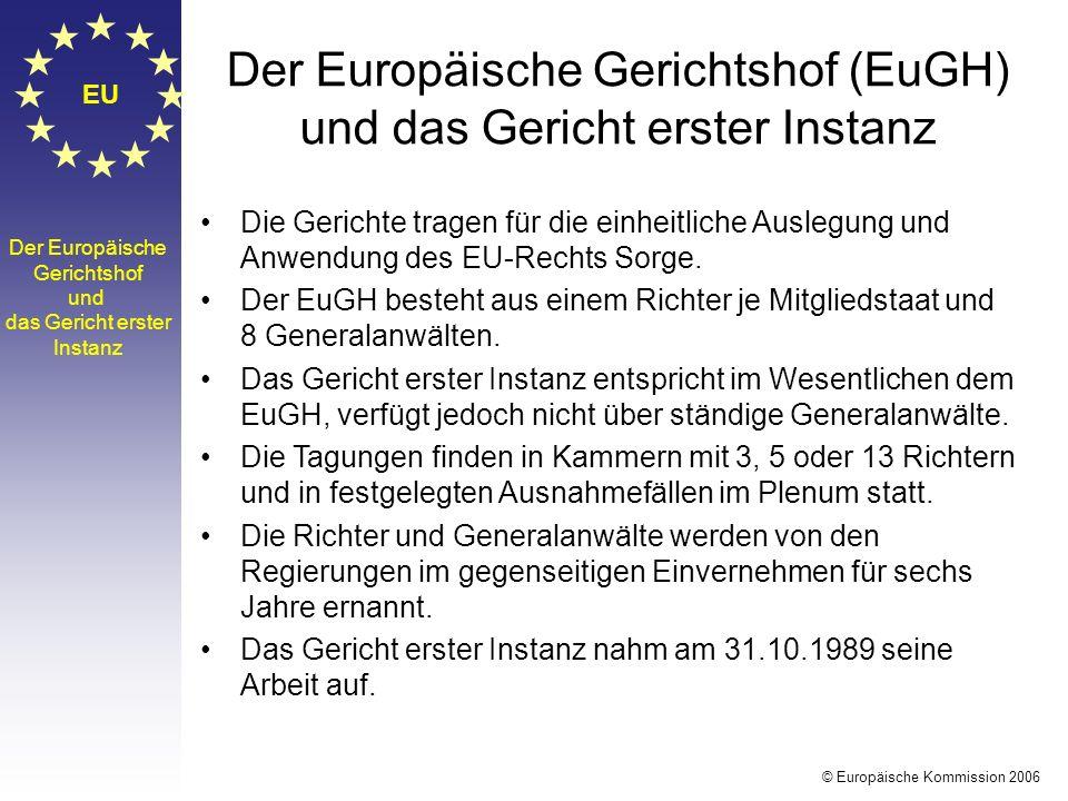 EU Der Europäische Gerichtshof und das Gericht erster Instanz Die Gerichte tragen für die einheitliche Auslegung und Anwendung des EU-Rechts Sorge. De