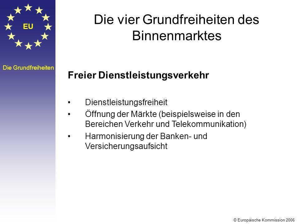 EU Die Grundfreiheiten Die vier Grundfreiheiten des Binnenmarktes Freier Dienstleistungsverkehr Dienstleistungsfreiheit Öffnung der Märkte (beispielsw