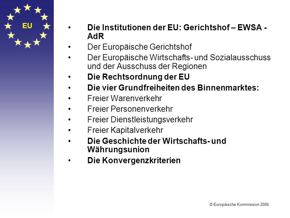 EU © Europäische Kommission 2006 Die Institutionen der EU: Gerichtshof – EWSA - AdR Der Europäische Gerichtshof Der Europäische Wirtschafts- und Sozia