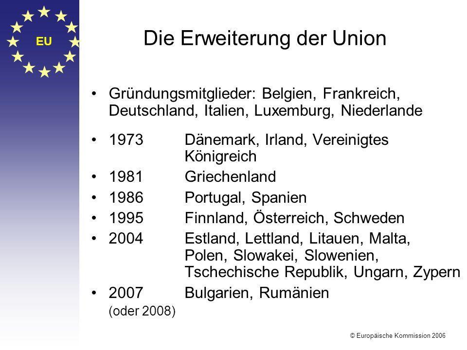 EU © Europäische Kommission 2006 Die Erweiterung der Union Gründungsmitglieder: Belgien, Frankreich, Deutschland, Italien, Luxemburg, Niederlande 1973