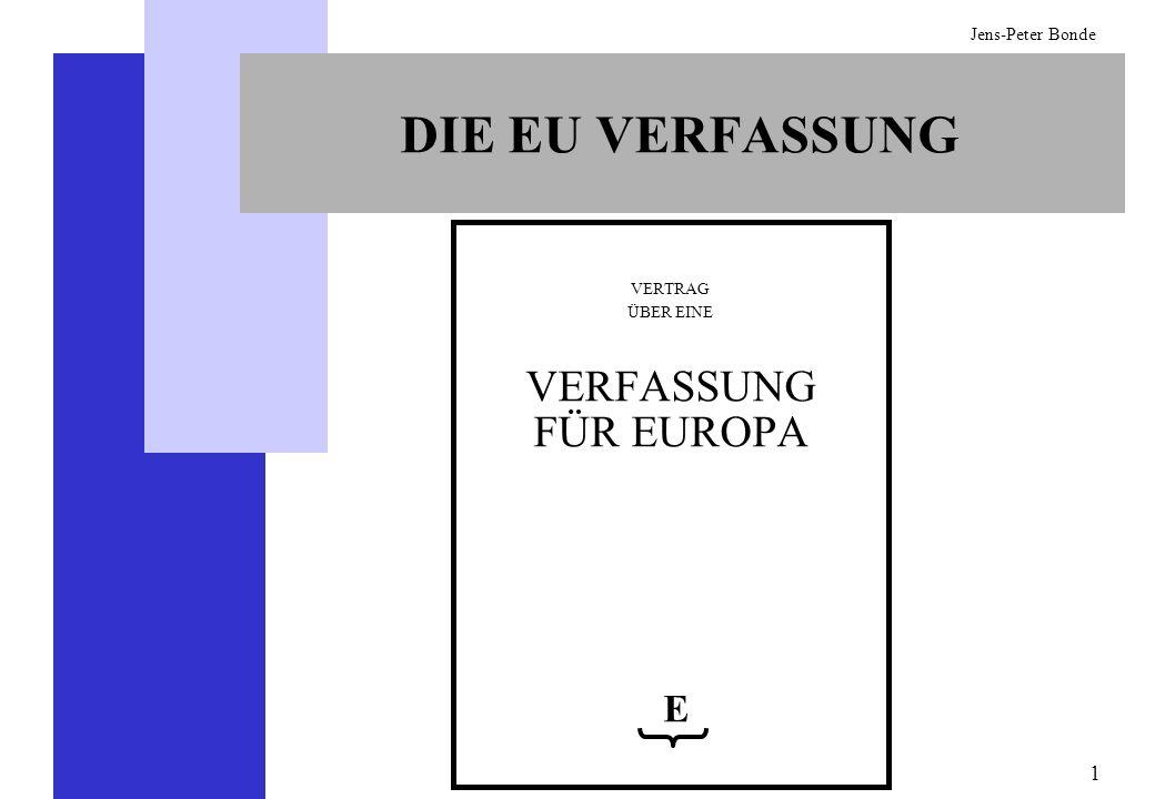 2 Jens-Peter Bonde ANNAHME DER EU-VERFASSUNG Da die Bestimmungen der Verfassung die der bestehenden Verträge ändern, müssen nach den bisherigen Verträgen alle Mitgliedsstaaten diese Änderungen auf einer Regierungskonferenz unterzeichnen und anschließend ratifizieren (48 EUV) Da die Verfassung alle früheren Verträge auch ablöst (IV-437 und IV-438), wird sie auch nach ihren eigenen Bestimmungen erst dann in Kraft treten, wenn sie von allen Unterzeichnerstaaten ratifiziert worden ist (IV-447) Wenn nicht alle, mindestens aber 80% der Mitgliedsstaaten die Verfassung innerhalb von zwei Jahren ratifiziert haben, soll eine von allen Mitgliedsstaaten mitgetragene politische Lösung gefunden werden (Erklärung über die Ratifizierung des Vertrags über eine Verfassung für Europa in Analogie zu IV-443.4) ZU BEACHTEN Nach dem Inkrafttreten der Verfassung kann ein Mitgliedsstaat aufgrund bestehender Bestimmungen legal aus der Union austreten, wobei es dies zwei Jahre im Voraus mitzuteilen hat (I-60)