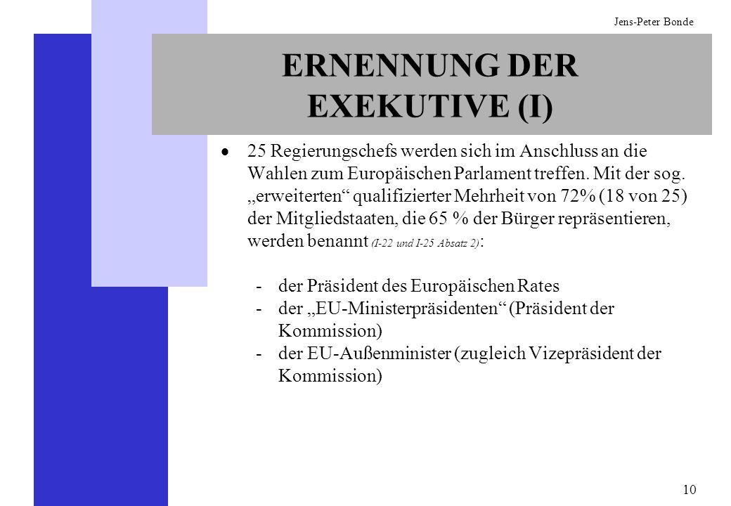 10 Jens-Peter Bonde ERNENNUNG DER EXEKUTIVE (I) 25 Regierungschefs werden sich im Anschluss an die Wahlen zum Europäischen Parlament treffen. Mit der