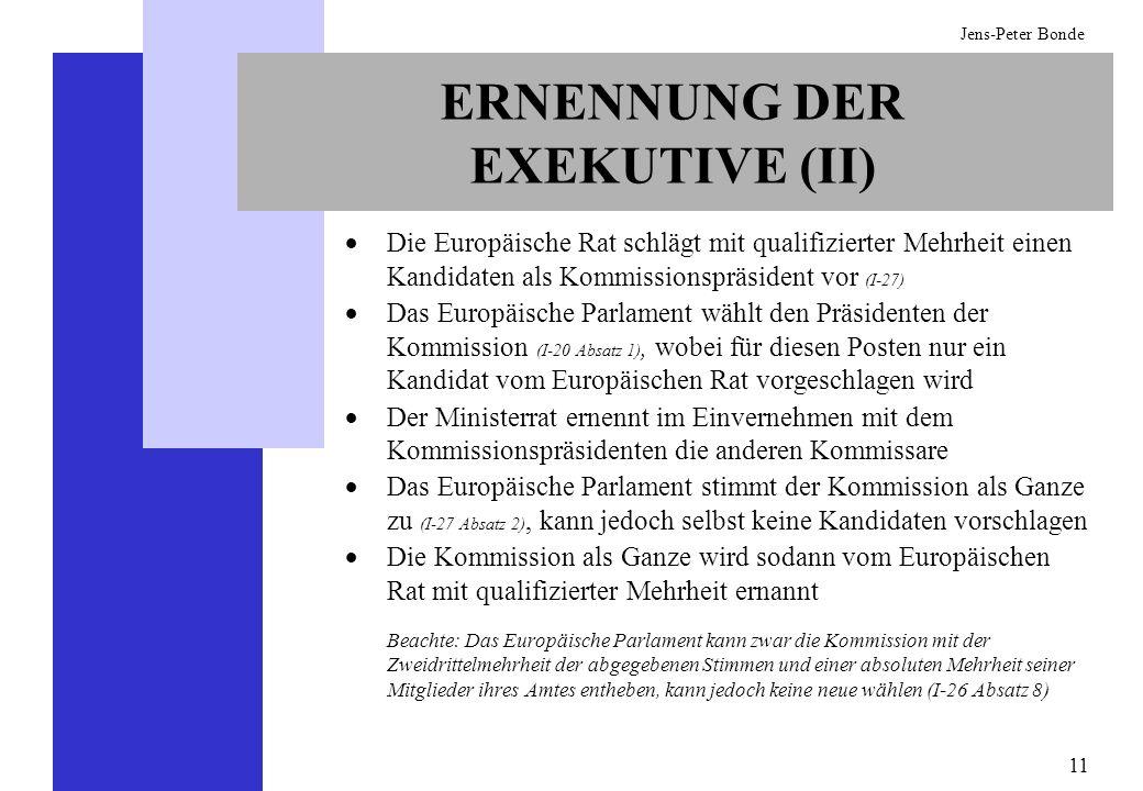 11 Jens-Peter Bonde Die Europäische Rat schlägt mit qualifizierter Mehrheit einen Kandidaten als Kommissionspräsident vor (I-27) Das Europäische Parla