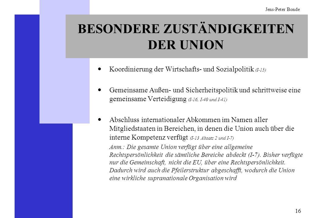 16 Jens-Peter Bonde BESONDERE ZUSTÄNDIGKEITEN DER UNION Koordinierung der Wirtschafts- und Sozialpolitik (I-15) Gemeinsame Außen- und Sicherheitspolit