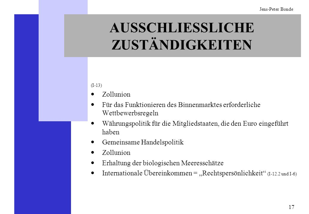 17 Jens-Peter Bonde AUSSCHLIESSLICHE ZUSTÄNDIGKEITEN (I-13) Zollunion Für das Funktionieren des Binnenmarktes erforderliche Wettbewerbsregeln Währungs