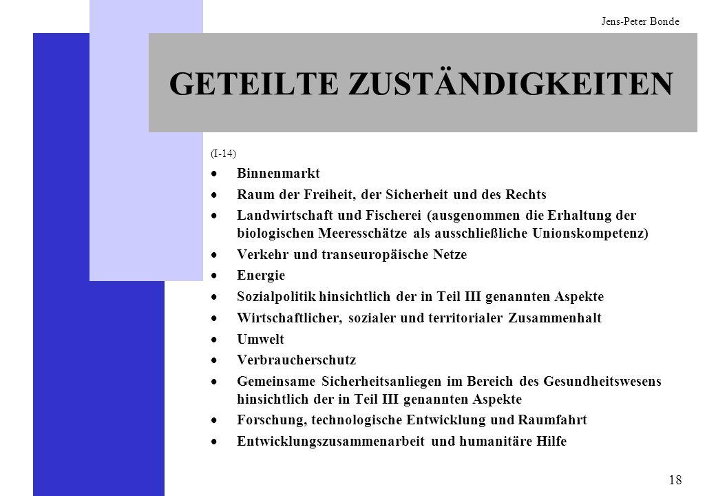 18 Jens-Peter Bonde GETEILTE ZUSTÄNDIGKEITEN (I-14) Binnenmarkt Raum der Freiheit, der Sicherheit und des Rechts Landwirtschaft und Fischerei (ausgeno