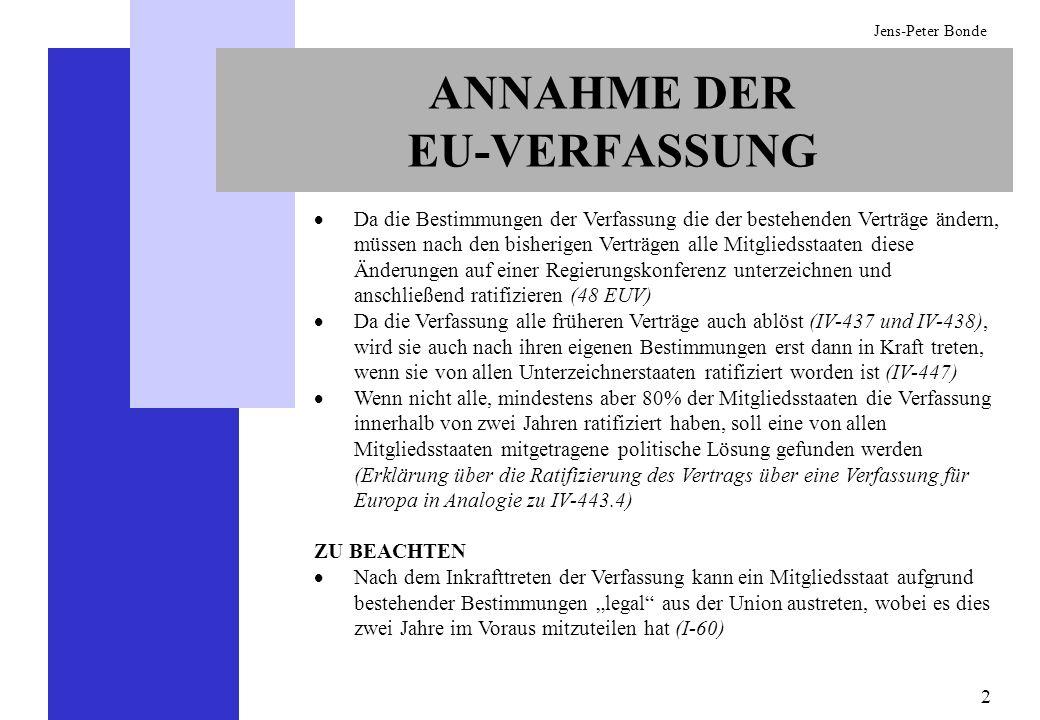23 Jens-Peter Bonde AUSSEN- UND SICHERHEITSPOLITIK In der Außen- und Sicherheitspolitik erfordern einige wichtige Bereiche nach wie vor Einstimmigkeit (I-40) ABER: Einstimmigkeit kann durch einstimmigen Beschluss auf einem EU- Gipfeltreffen durch die qualifizierte Mehrheit ersetzt werden (I-40 Absatz 7).