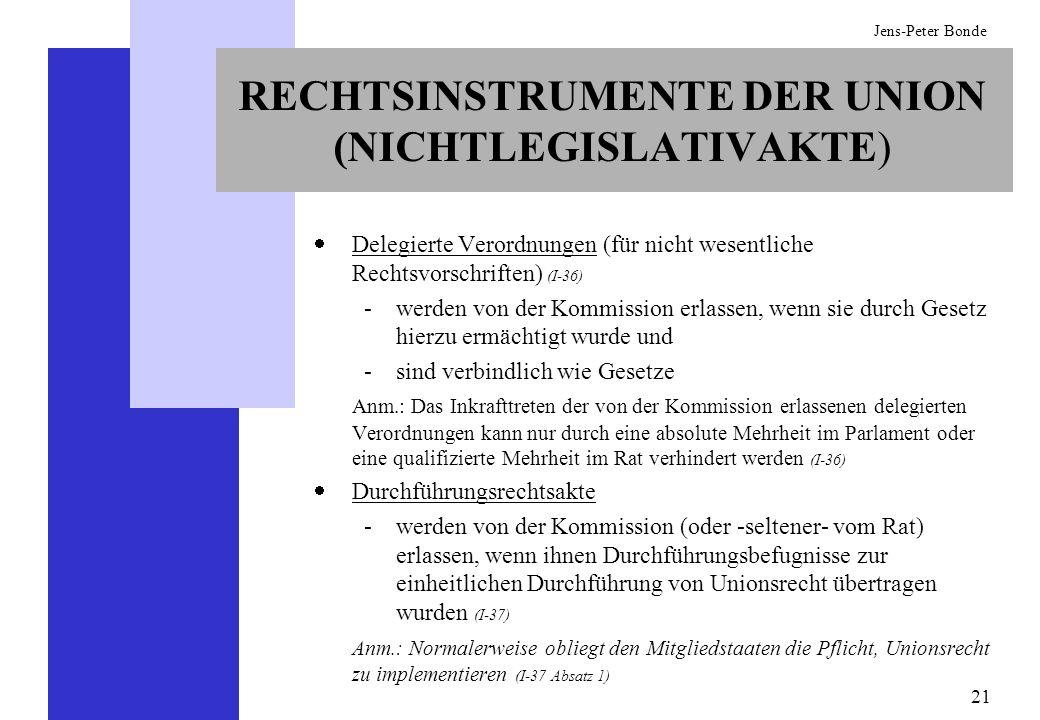 21 Jens-Peter Bonde RECHTSINSTRUMENTE DER UNION (NICHTLEGISLATIVAKTE) Delegierte Verordnungen (für nicht wesentliche Rechtsvorschriften) (I-36) -werde