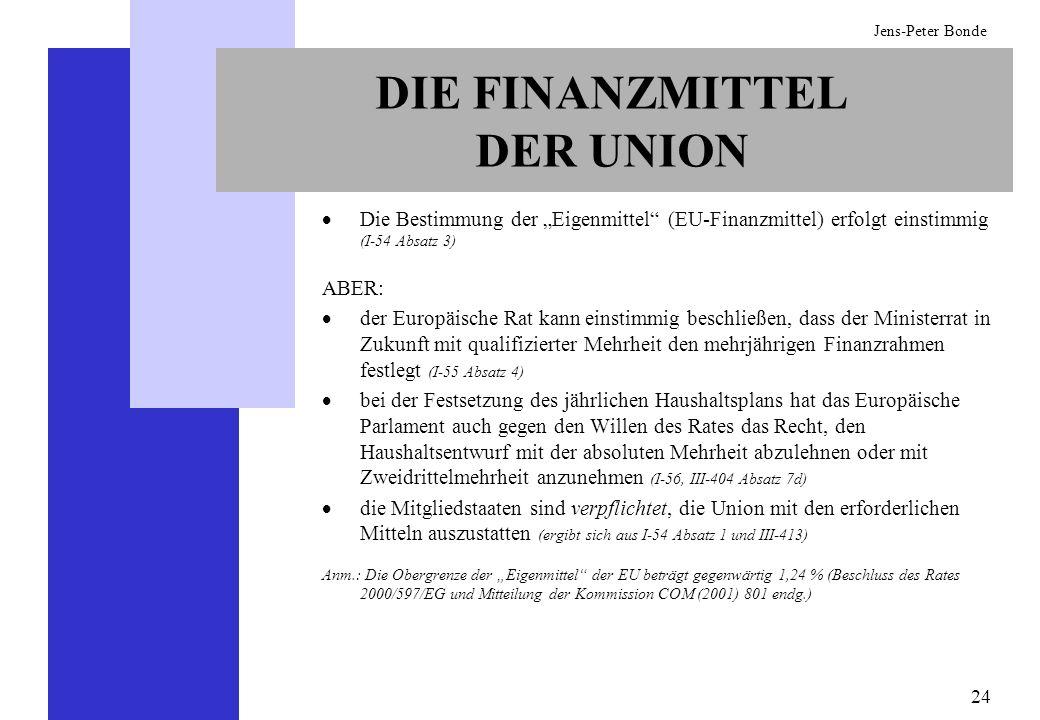 24 Jens-Peter Bonde DIE FINANZMITTEL DER UNION Die Bestimmung der Eigenmittel (EU-Finanzmittel) erfolgt einstimmig (I-54 Absatz 3) ABER: der Europäisc