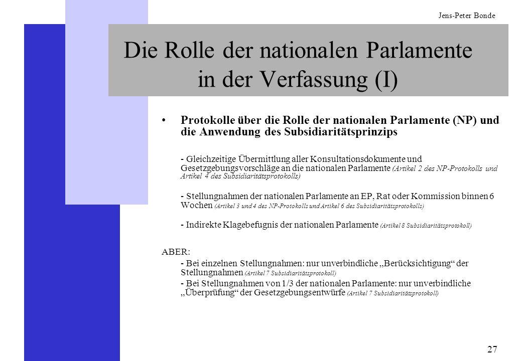 27 Jens-Peter Bonde Die Rolle der nationalen Parlamente in der Verfassung (I) Protokolle über die Rolle der nationalen Parlamente (NP) und die Anwendu