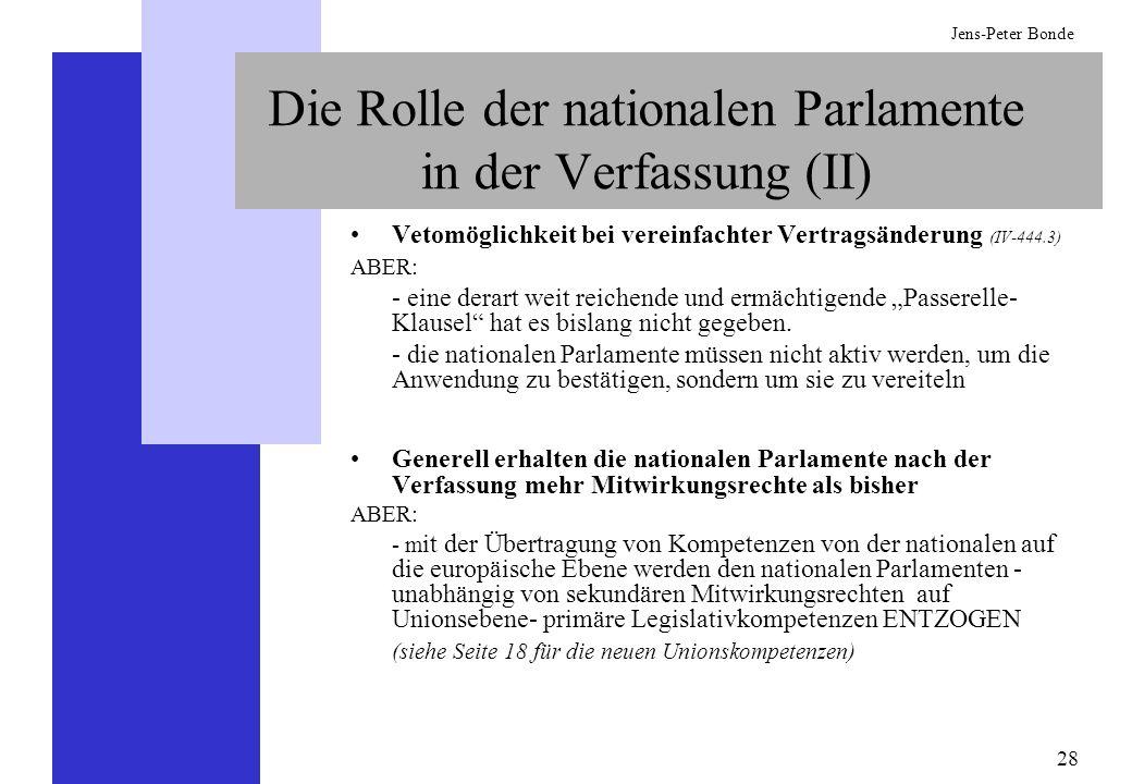 28 Jens-Peter Bonde Die Rolle der nationalen Parlamente in der Verfassung (II) Vetomöglichkeit bei vereinfachter Vertragsänderung (IV-444.3) ABER: - e