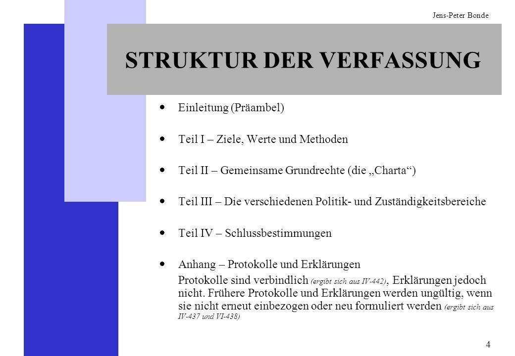 15 Jens-Peter Bonde DIE ZUSTÄNDIGKEITEN DER UNION Ausschließliche Zuständigkeiten der EU (I-13) -Die Mitgliedstaaten können nicht oder nur mit ausdrücklicher Genehmigung EU-Genehmigung tätig werden Geteilte Zuständigkeit (I-14) -Wenn die EU die Rechtsvorschriften erlässt, verlieren die Mitgliedstaaten das Recht, in dem Bereich selbst Rechtsakte zu erlassen Zuständigkeit für Koordinierungsmaßnahmen (I-17) -Zuständigkeit der Union, Unterstützungs-, Koordinierungs- oder Ergänzungsmaßnahmen zu ergreifen; -Diese Maßnahmen werden zusätzlich zu den Maßnahmen der Mitgliedsstaaten ergriffen; -Die EU kann dabei Rechtsakte verabschieden, darf jedoch die Gesetze der Mitgliedstaaten nicht harmonisieren
