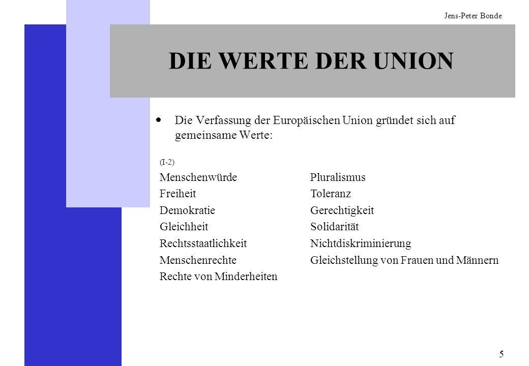 5 Jens-Peter Bonde DIE WERTE DER UNION Die Verfassung der Europäischen Union gründet sich auf gemeinsame Werte: (I-2) Menschenwürde Freiheit Demokrati