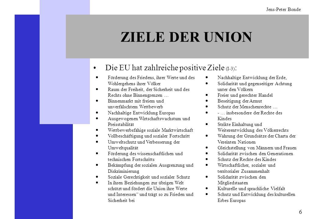 6 Jens-Peter Bonde ZIELE DER UNION Die EU hat zahlreiche positive Ziele (I-3) : Nachhaltige Entwicklung der Erde, Solidarität und gegenseitiger Achtun