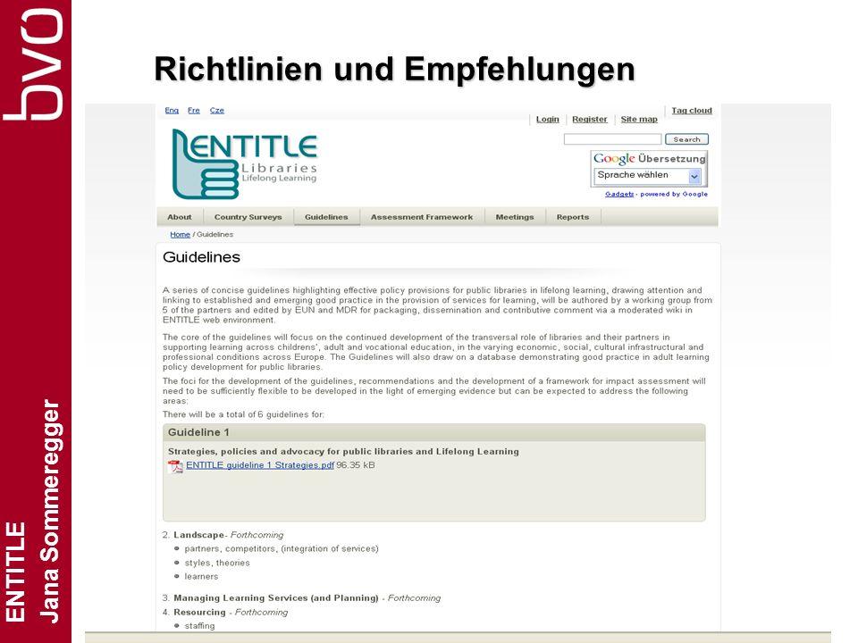 ENTITLE Jana Sommeregger Folie 12 Richtlinien und Empfehlungen