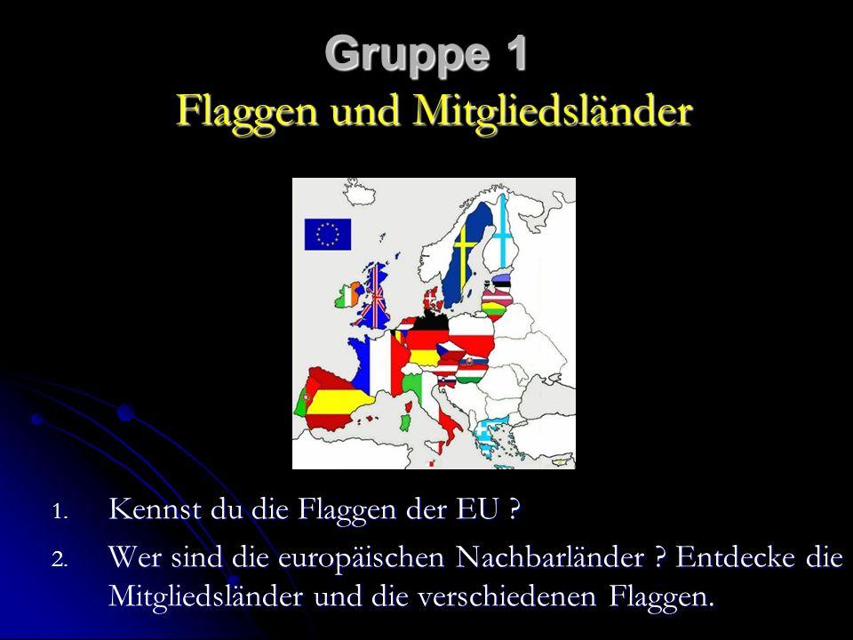 Gruppe 1 Flaggen und Mitgliedsländer 1.Kennst du die Flaggen der EU .