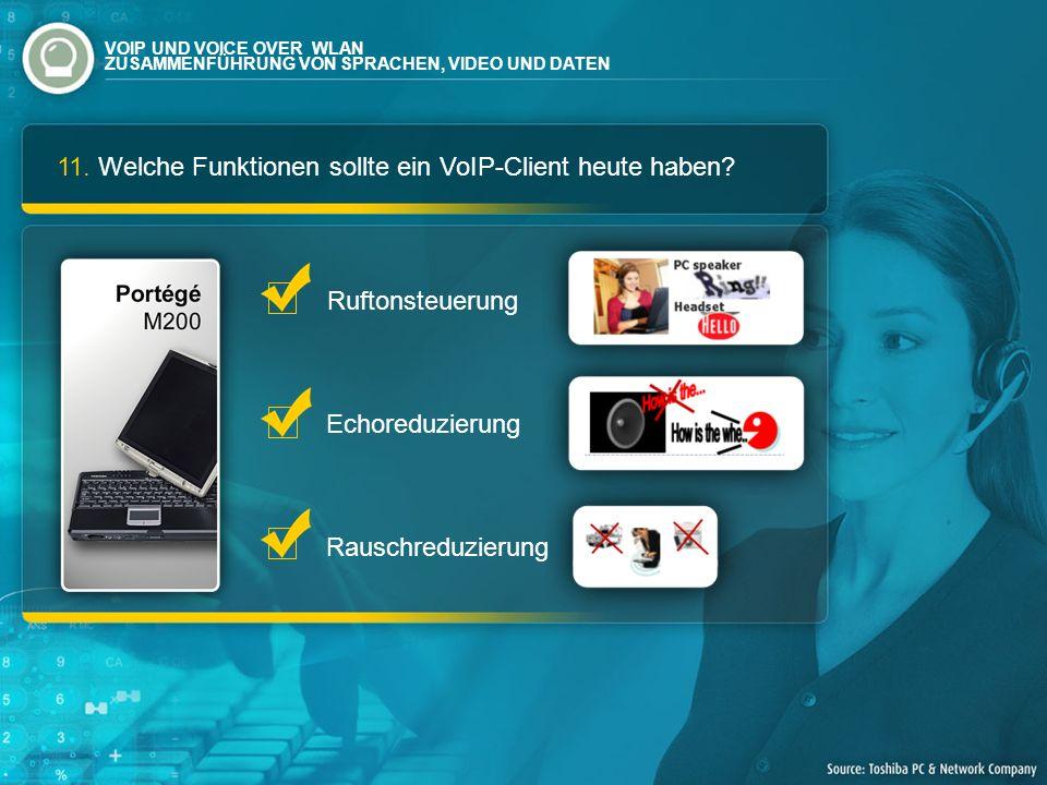 11. Welche Funktionen sollte ein VoIP-Client heute haben? Ruftonsteuerung Echoreduzierung Rauschreduzierung VOIP UND VOICE OVER WLAN ZUSAMMENFÜHRUNG V