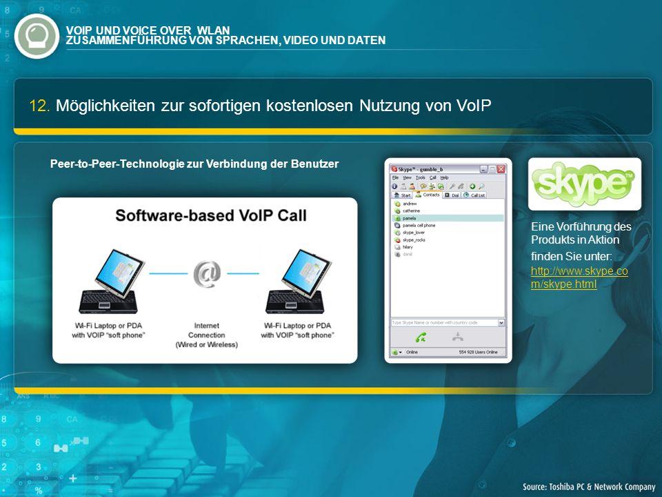 12. Möglichkeiten zur sofortigen kostenlosen Nutzung von VoIP Eine Vorführung des Produkts in Aktion finden Sie unter: http://www.skype.co m/skype.htm