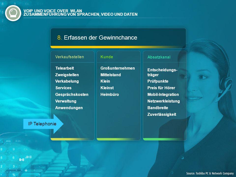 8. Erfassen der Gewinnchance Verkaufsstellen Telearbeit Zweigstellen Verkabelung Services Gesprächskosten Verwaltung Anwendungen Absatzkanal Entscheid