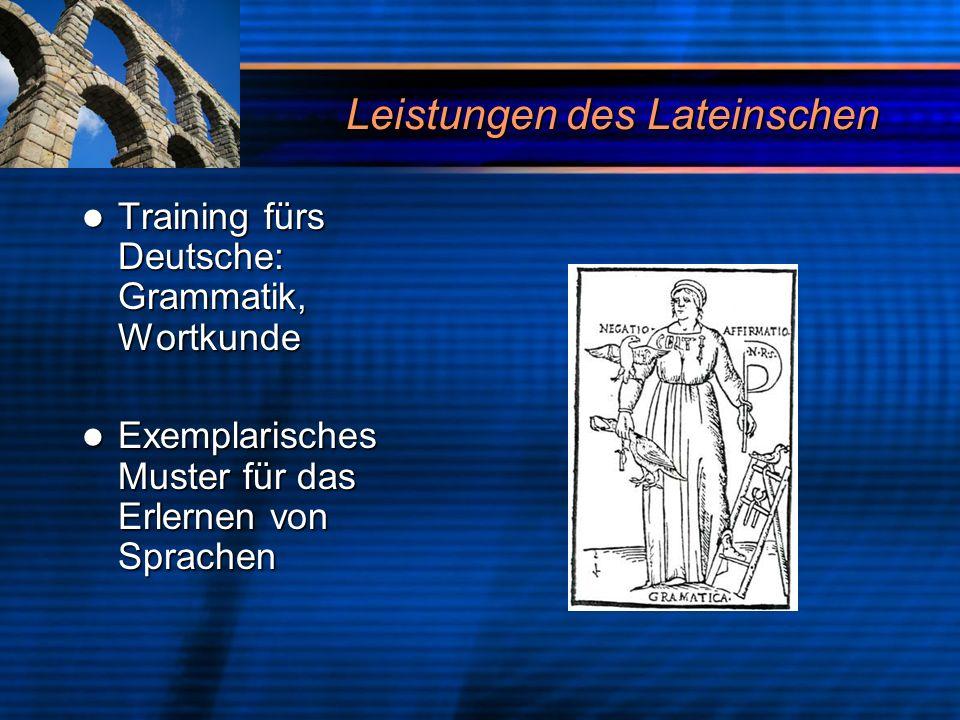 Leistungen des Lateinschen Training fürs Deutsche: Grammatik, Wortkunde Training fürs Deutsche: Grammatik, Wortkunde Exemplarisches Muster für das Erl