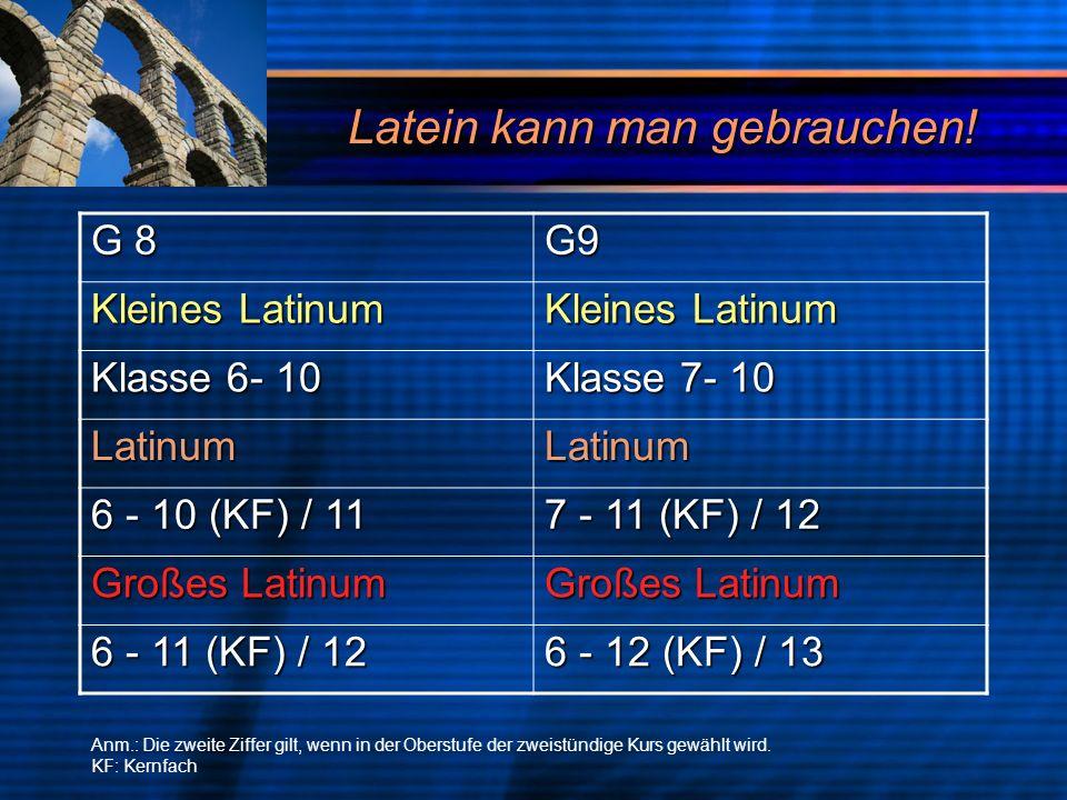 Latein kann man gebrauchen! G 8 G9 Kleines Latinum Klasse 6- 10 Klasse 7- 10 LatinumLatinum 6 - 10 (KF) / 11 7 - 11 (KF) / 12 Großes Latinum 6 - 11 (K
