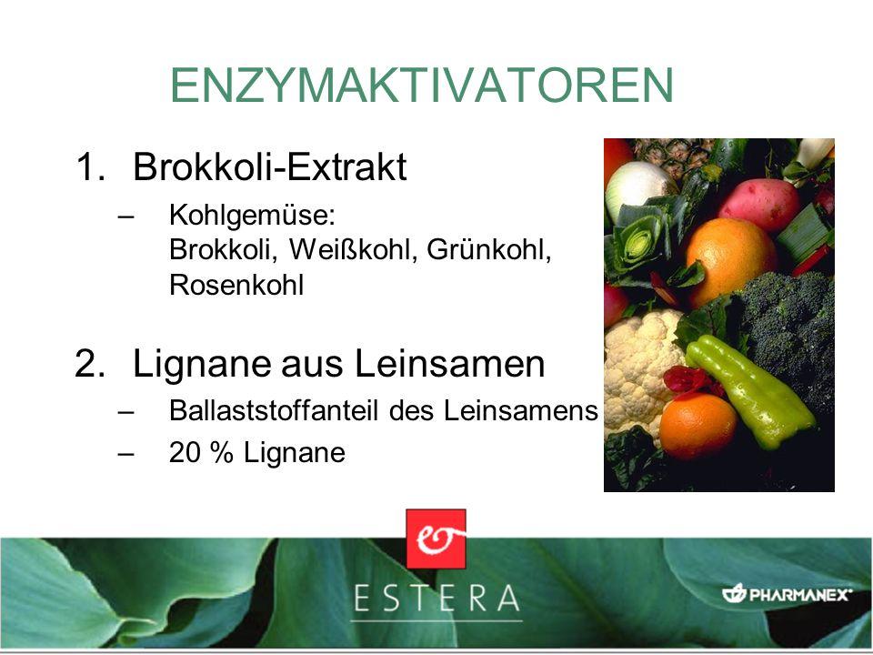 1.Brokkoli-Extrakt –Kohlgemüse: Brokkoli, Weißkohl, Grünkohl, Rosenkohl 2.Lignane aus Leinsamen –Ballaststoffanteil des Leinsamens –20 % Lignane ENZYM